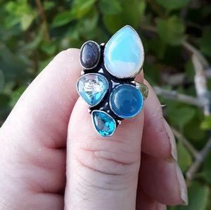 palite, Blue Topaz, Labradorite Silver Ring. 6.50